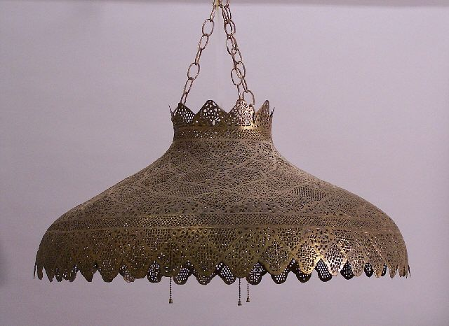 indian hanging antique brass filigree light fixture from india c1890