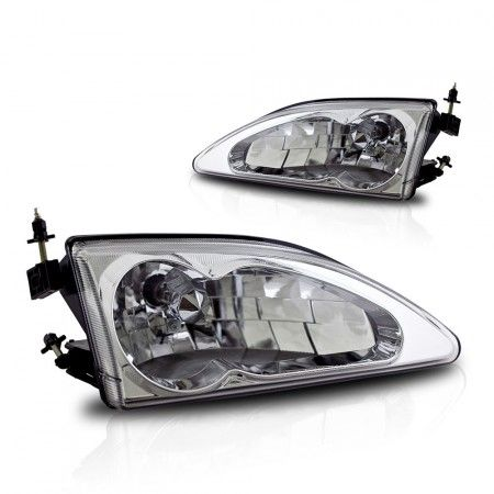 1995 Ford Mustang Chrome Clear Euro Headlights Winjet Pair Ford Mustang Headlights Mustang
