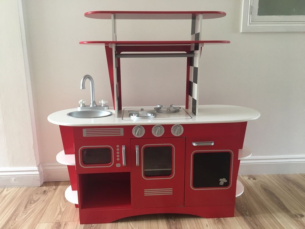 Elc Early Learning Centre Red Retro Wooden Kitchen Pre School Role