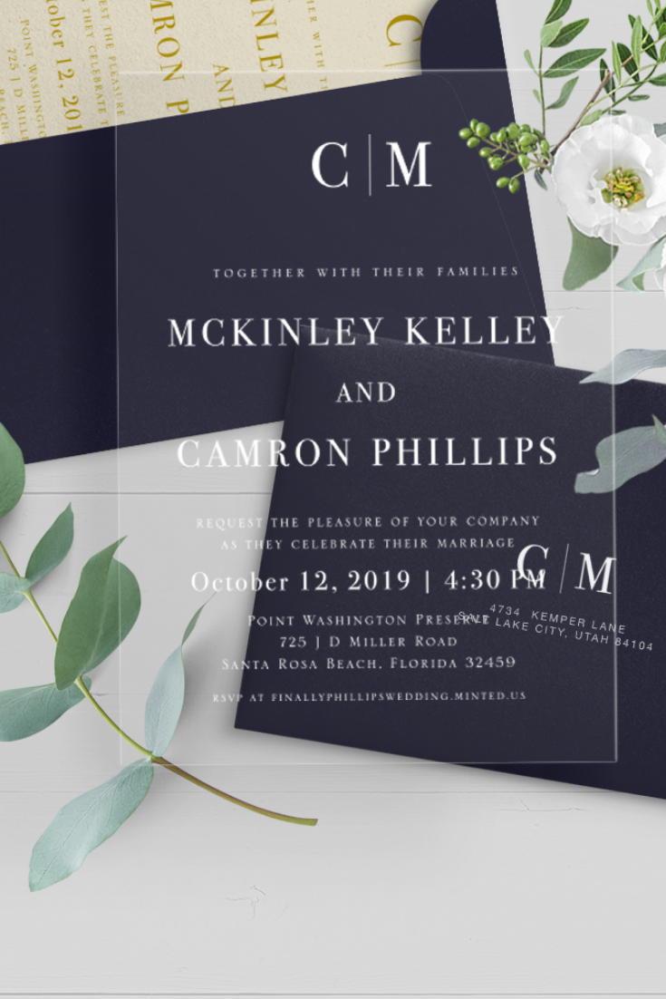 Acrylic Wedding Invitations Custom Clear Wedding Invitation Personalized Transparent Wedding Stationery Modern Frosted Wedding Invite