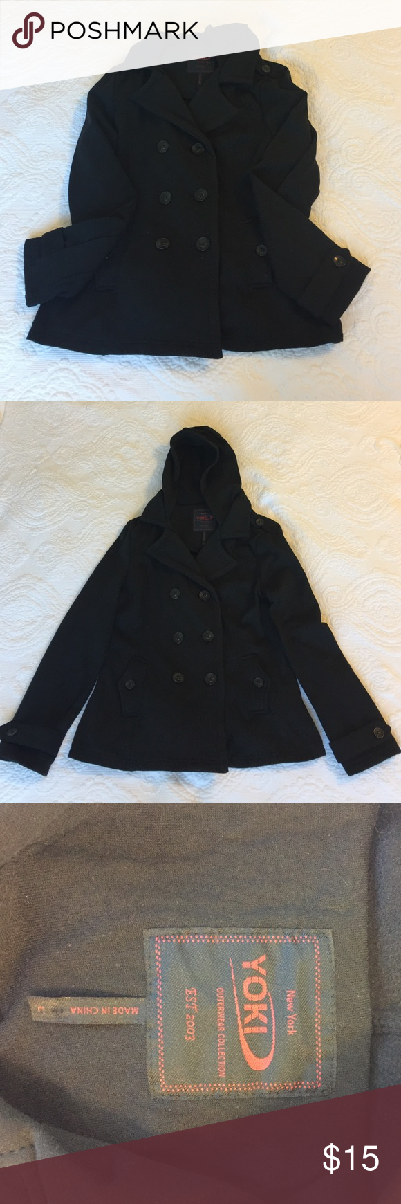 Black Jacket Size L. Great condition. Belt that comes with it is missing. Hoodie can be hide inside the coat. Yoki Jackets & Coats