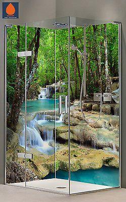 Eck Duschrückwand Rückwand Dusche Alu, Fliesenspiegel Fliesen, Wasserfall  Motive