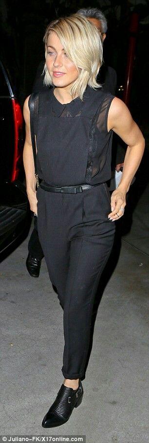 Julianne hough in a cool black jumpsuit with lace undertop #juliannehoughstyle