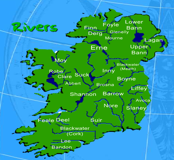 Map Of Ireland With Rivers.Pin By Barnabas Gall On Ireland National School Ireland River