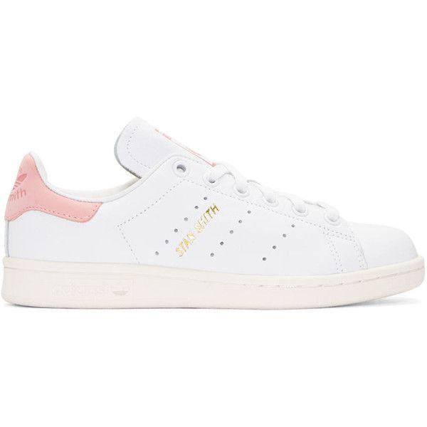 Adidas originali in bianco e rosa e scarpe da ginnastica (rub stan smith