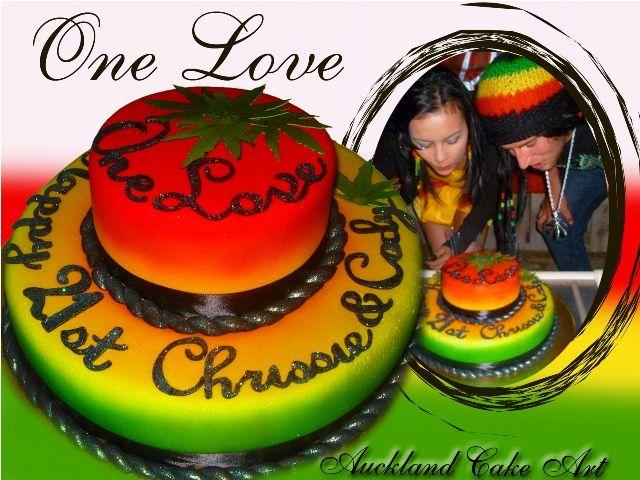 ONE LOVE RASTA BIRTHDAY CAKE by Anita (Auckland Cake Art), via Flickr