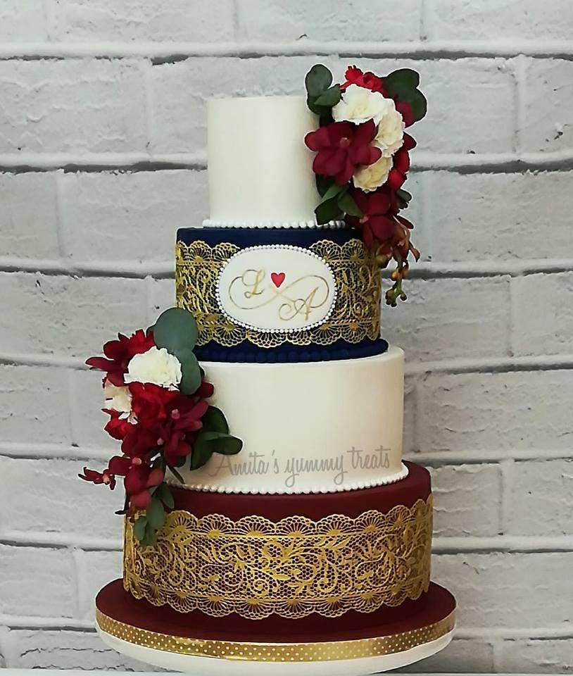 Burgundy And Navy Blue Wedding Cake On Satinice Com Amita S Yummy