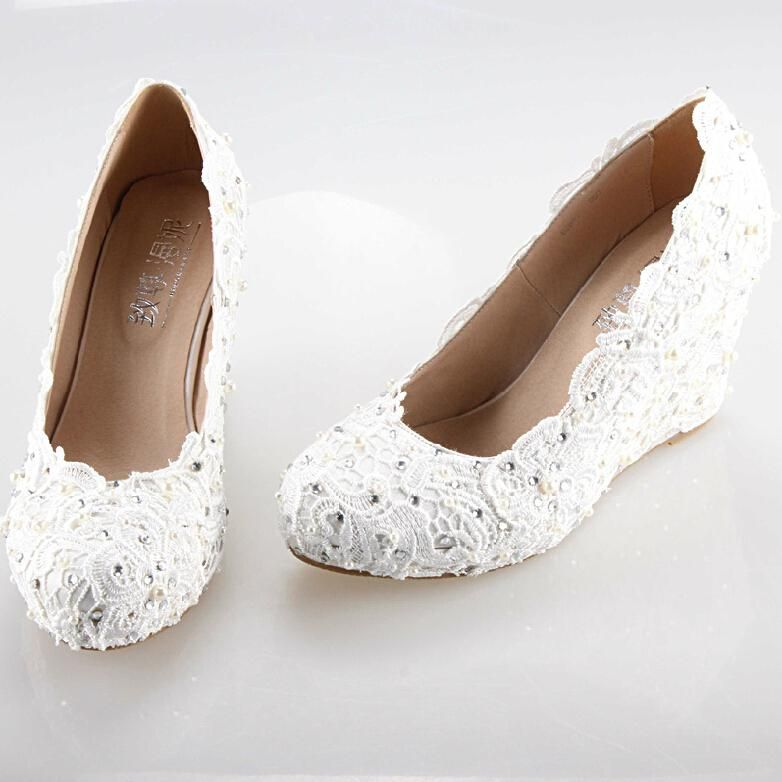 2015 New White Wedges Wedding Dress Shoes Fashion Lady Party Prom Comfort Lace Rhinestone Bridal Elegant Pumps