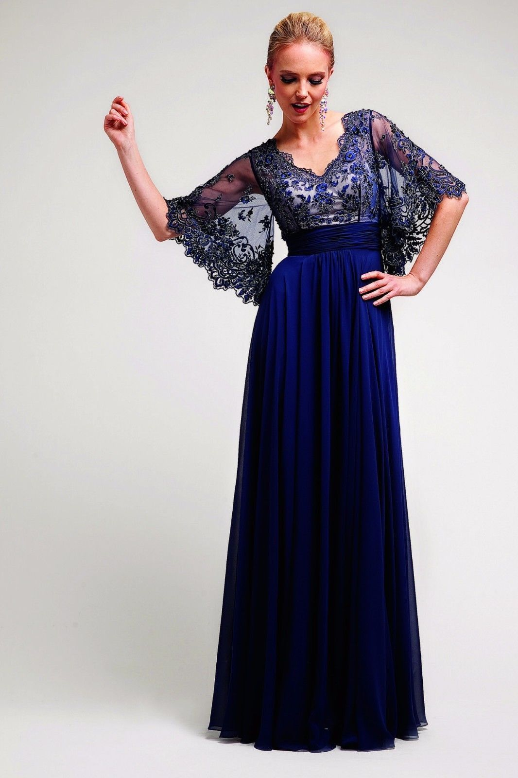 An Elegant Long Formal Gown With Gorgeous Kimono Sleeves