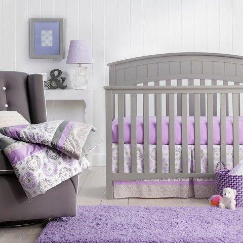 Trend Lab Medallion Crib Bedding Set Purple Purple