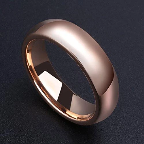 GLORY 6 mm Rose Gold Plated High Polished Comfort Fit