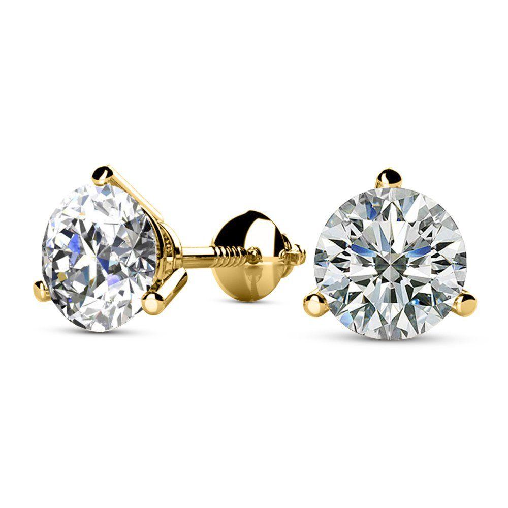 1 1 2 1 5 Carat Total Weight White Round Diamond Solitaire Stud Earrings Pair Set Diamond Earrings Studs Round Diamond Earrings Studs White Gold Earrings Studs