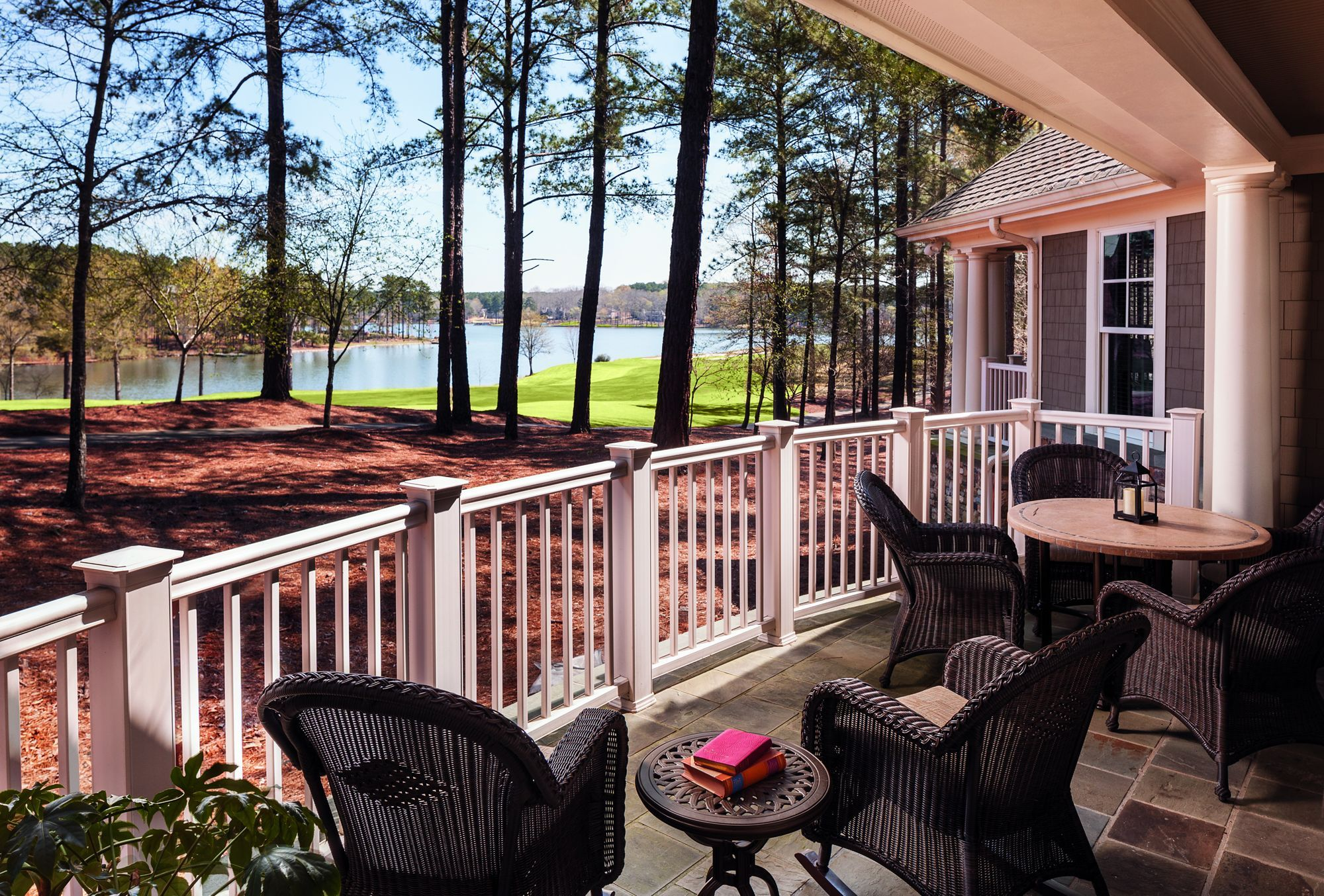 A furnished porch overlooking the lake Lakeside living