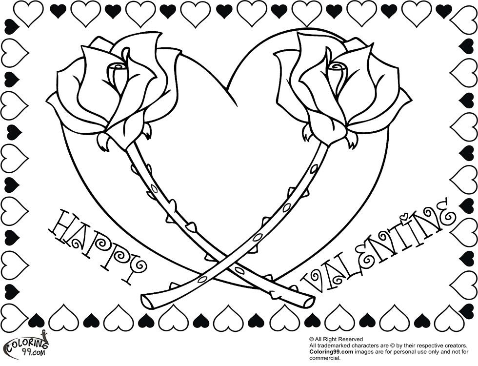 Happy Valentine Rose Heart Coloring Pages For Adults Heart Coloring Pages Valentines Day Coloring Valentines Day Coloring Page