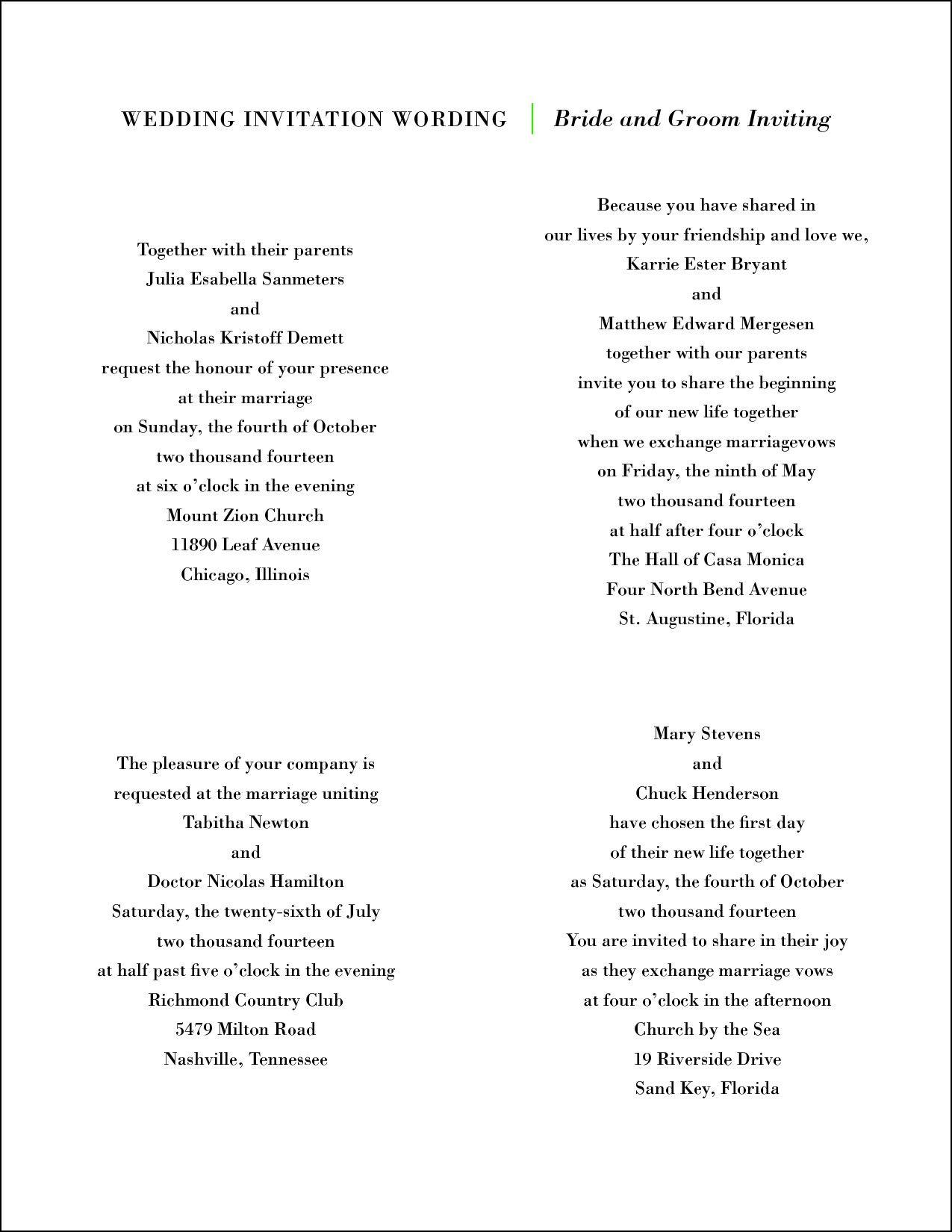 Wording for Wedding Invitations Bride and Groom Hosting