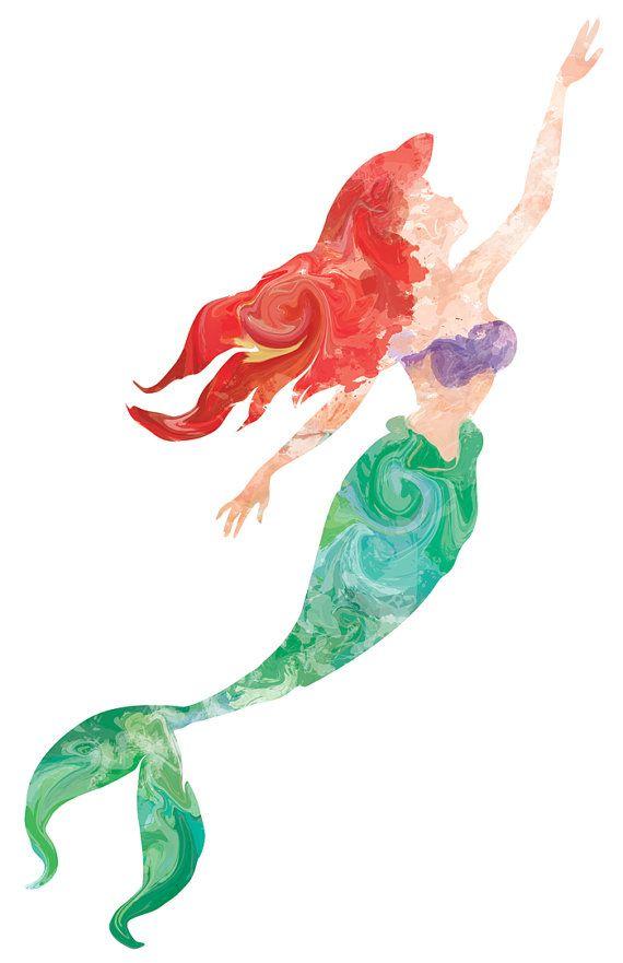 Litttle Mermaid Print - Little Mermaid 11x17 Print - Water Color ...