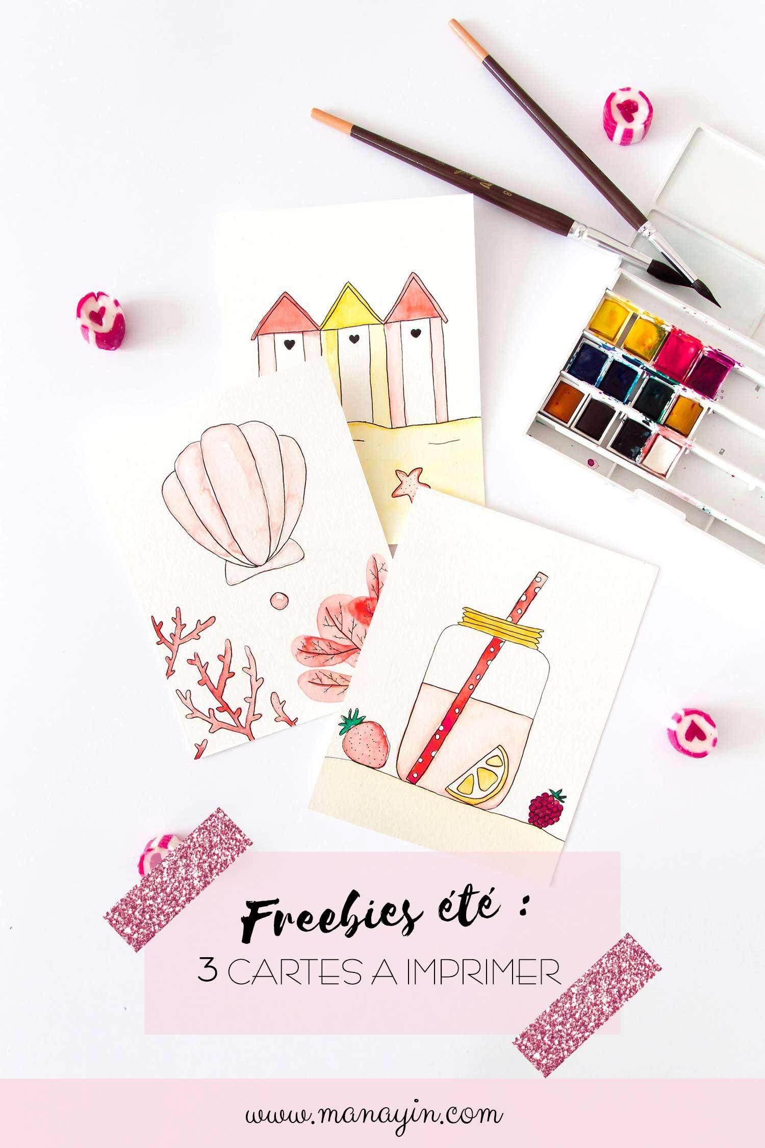 Freebies Ete 3 Cartes A L Aquarelle A Telecharger Et Imprimer