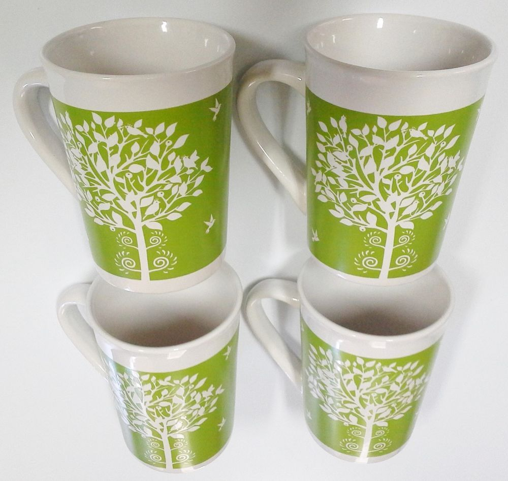 NEW (4) Royal Norfolk White \u0026 Green Birds Tree 12 oz 4 3/4\  Tall Mugs Cup & NEW (4) Royal Norfolk White \u0026 Green Birds Tree 12 oz 4 3/4\