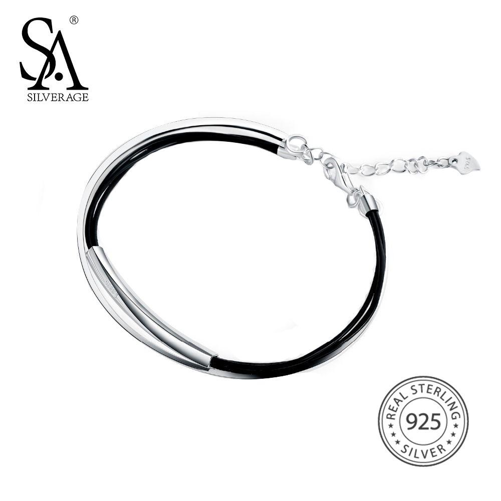 Sa silverage real sterling silver leather bangle bracelet for
