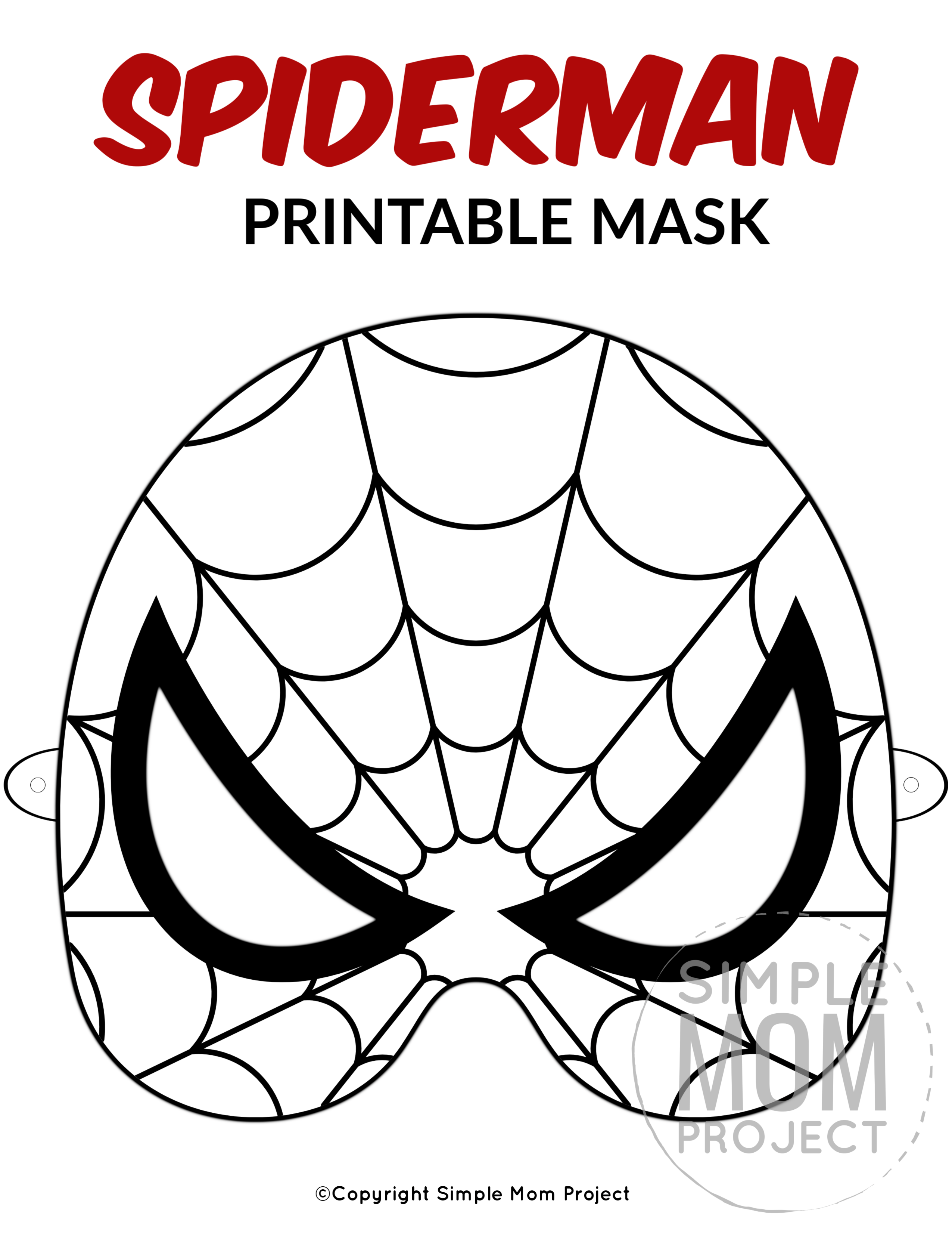 Free Printable Spider-Man Mask Templates - Simple Mom Project in