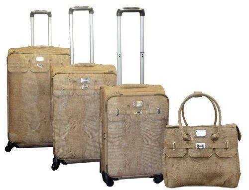 Amazon.com: Adrienne Vittadini Sutton Place 4-Piece Luggage Set - Natural: Clothing
