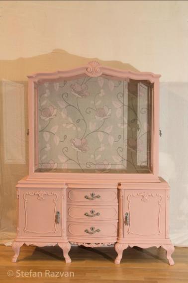 Armario Vitrina Antigua : Vitrina antigua en rosa handmade vitrinas