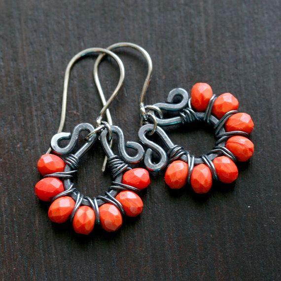 Handmade orange earrings, wire wrapped earrings, Czech glass, oxidized copper earrings, grey, Mimi Michele Jewelry. $36.50, via Etsy.