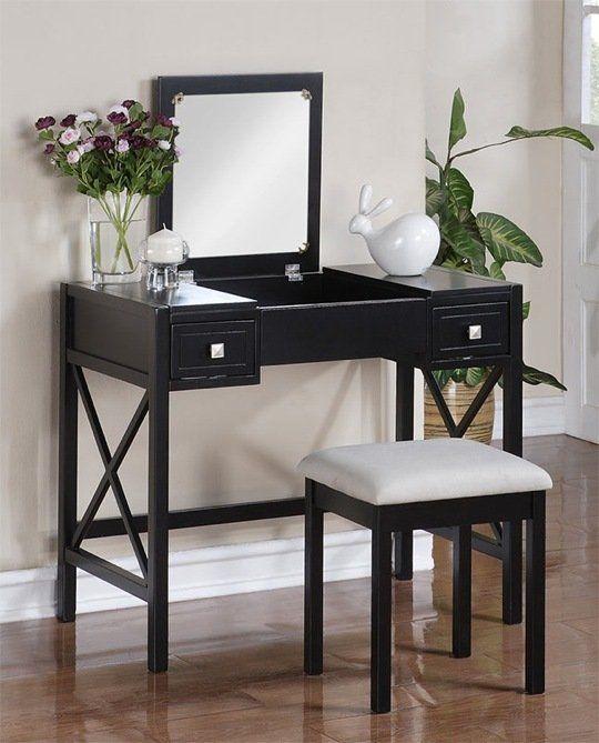 Best No Clutter 5 Flip Top Mirror Storage Vanities Black 400 x 300