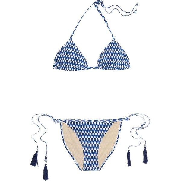 Tart Collections Iris tasseled printed triangle bikini (€59) ❤ liked on  Polyvore featuring swimwear, bikinis, blue, tie bikini, bikini two piece, t…