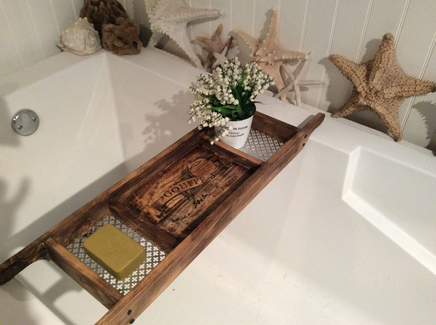 Bath Tray / Made to Order / Recycled Pallet Wood / Rustic Style Bath ...