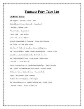A list of 82 different versions of fairy tale books to use
