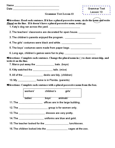 Grammar Test: lesson 13 Worksheet | Lesson Planet | Kids ...
