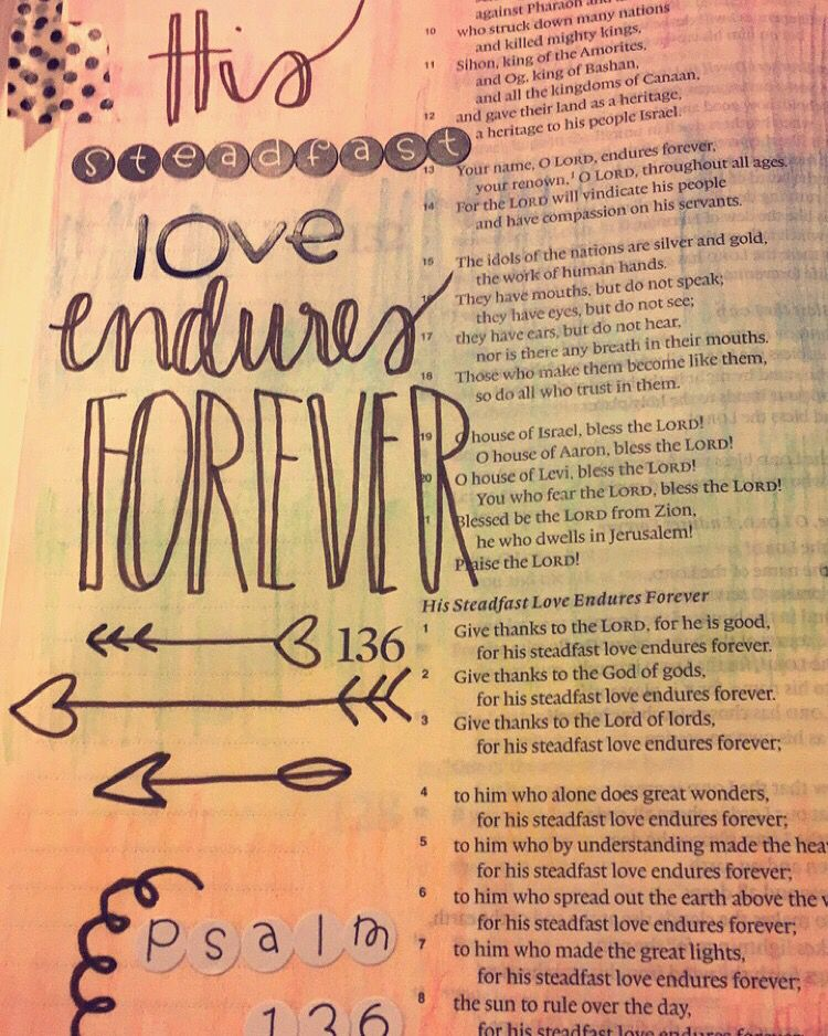 Some of my work. Psalm 136:1. #biblejournaling