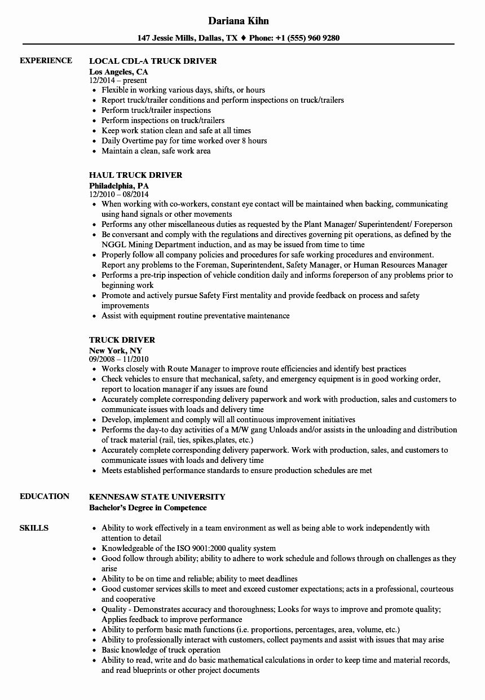 Entry Level Truck Driver Resume Fresh Truck Driver Resume Samples In 2020 Truck Driver Truck Driver Jobs Resume Examples