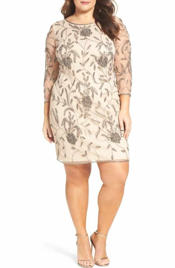 a7cf3084c41 Free shipping and returns on Pisarro Nights Illusion Neck Beaded Shift Dress  (Plus Size) at Nordstrom.com. A special-occasion dress in a sophisticated  grey ...