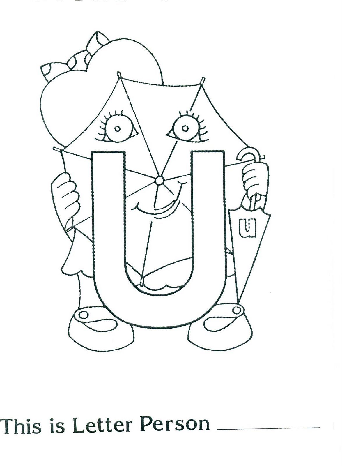 Brilliant Beginnings Preschool: Letter Person U Printable Coloring ...