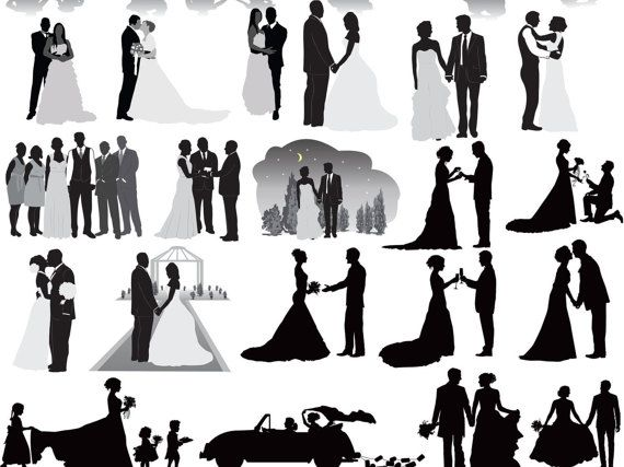 Wedding Party Wedding Silhouettes Wedding Clipart Bride Clip Art