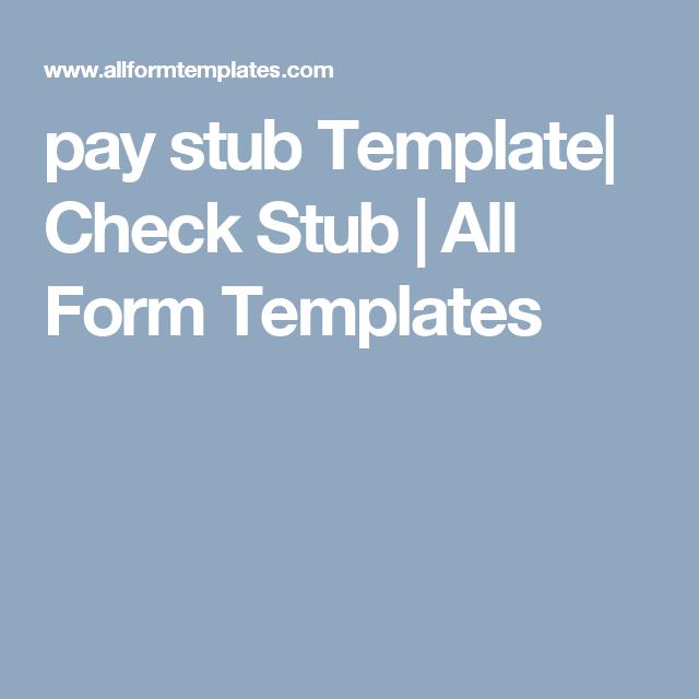 Pay Stub Template Check Stub  All Form Templates  Pay Stub