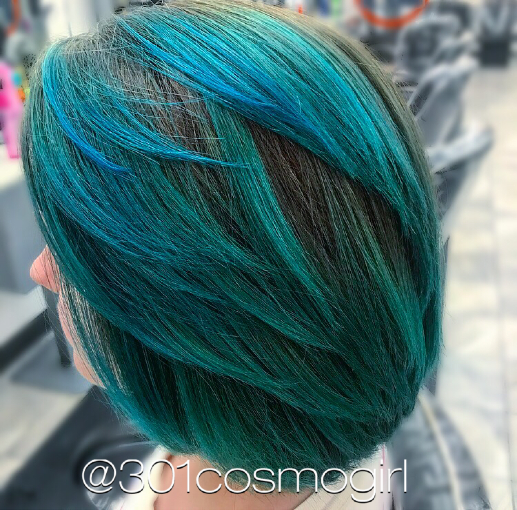 Loving This Mermaid Hair Color Used Pravana Vivids Green, Blue,
