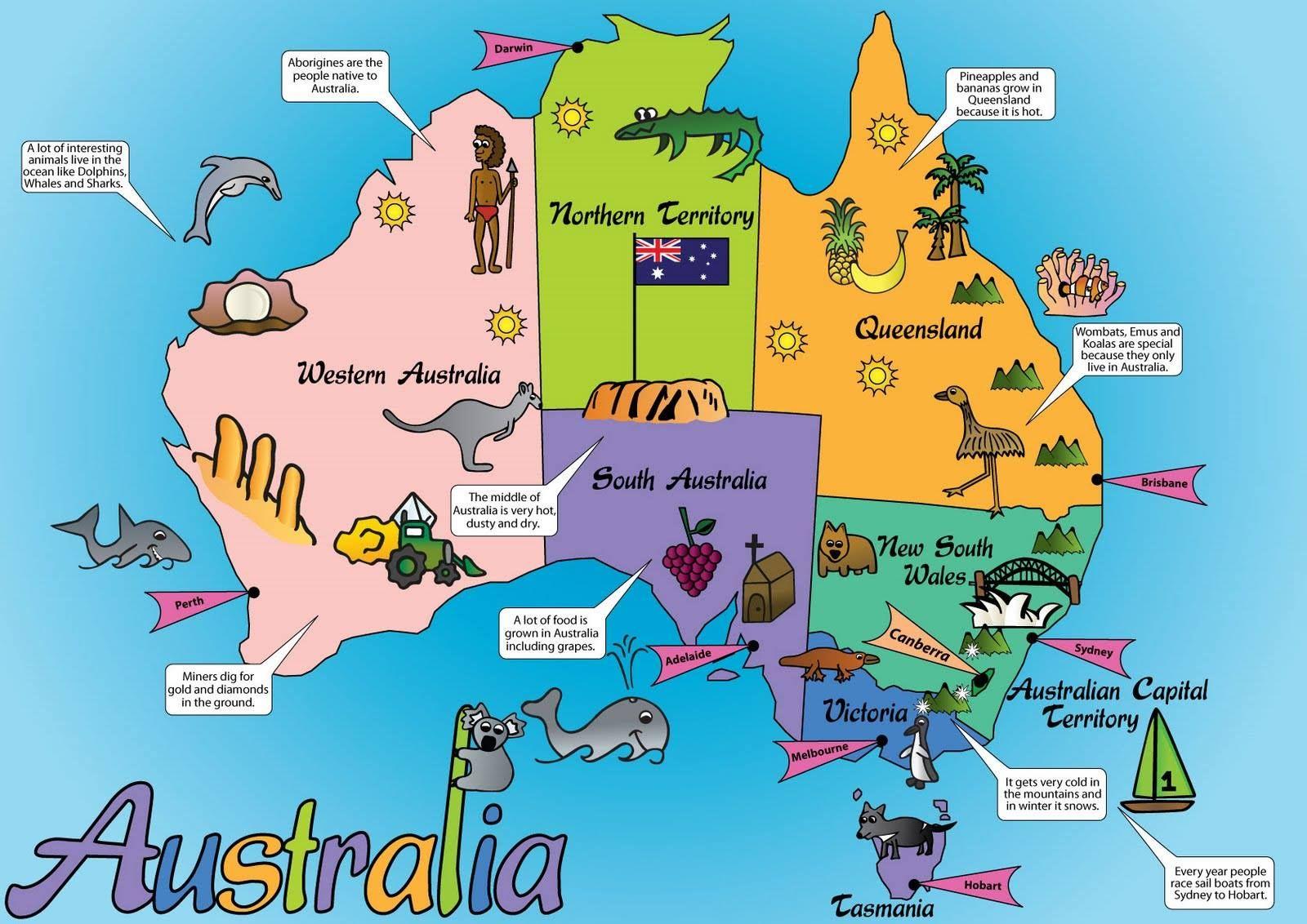 cute map Australia map, Australia for kids, Australian maps