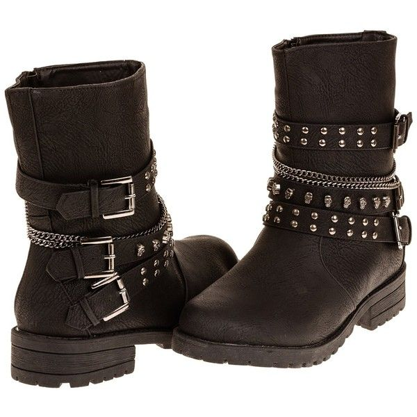 Women's Fashion Arassi Studded Chain Moto Boot (Wide Width) (See ...