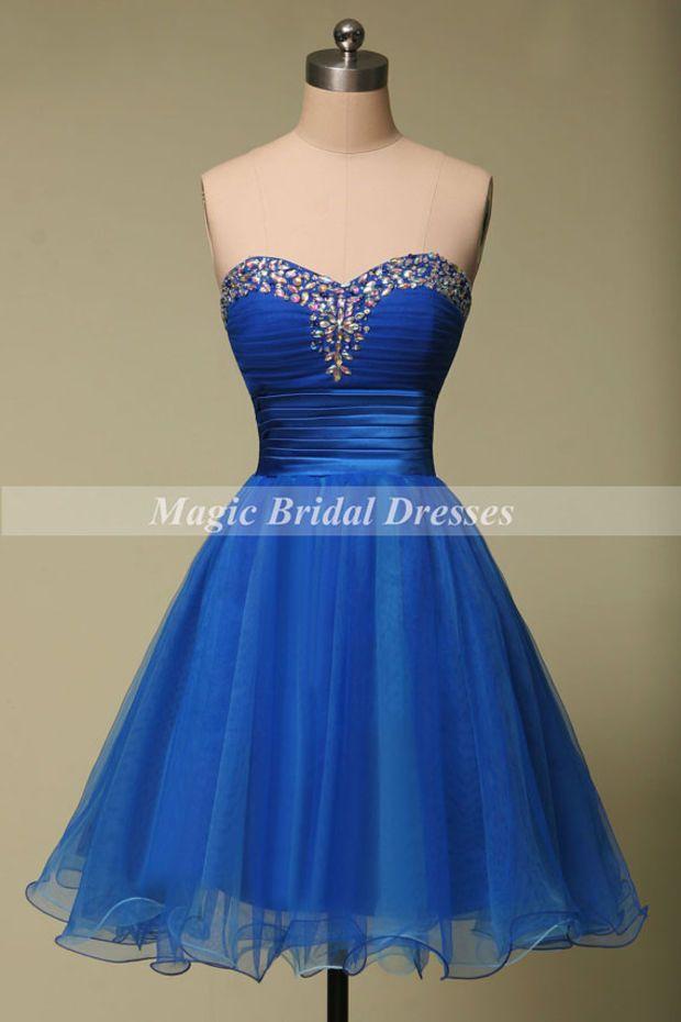 f89b3789e57 Royal Blue Organza Prom Dress Sweetheart Beading A-line Short Party Dress  Above Knee Mini Homecoming Dress Summer Style Women Dresses