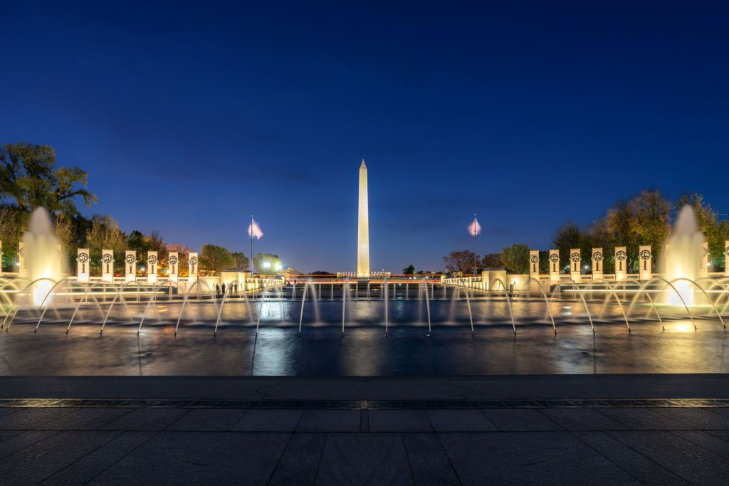 Washington Monument With Fountain At Night With In Washington Dc