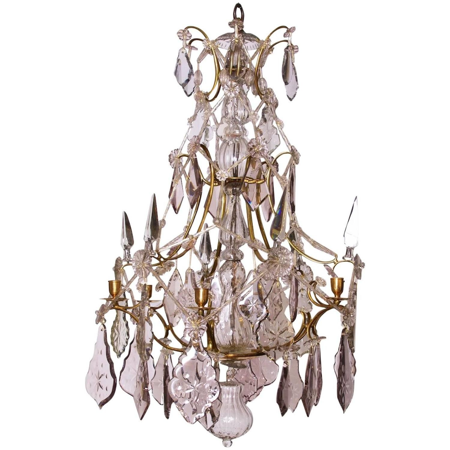 Swedish Crystal Chandelier Made for Six Candles Rococo circa