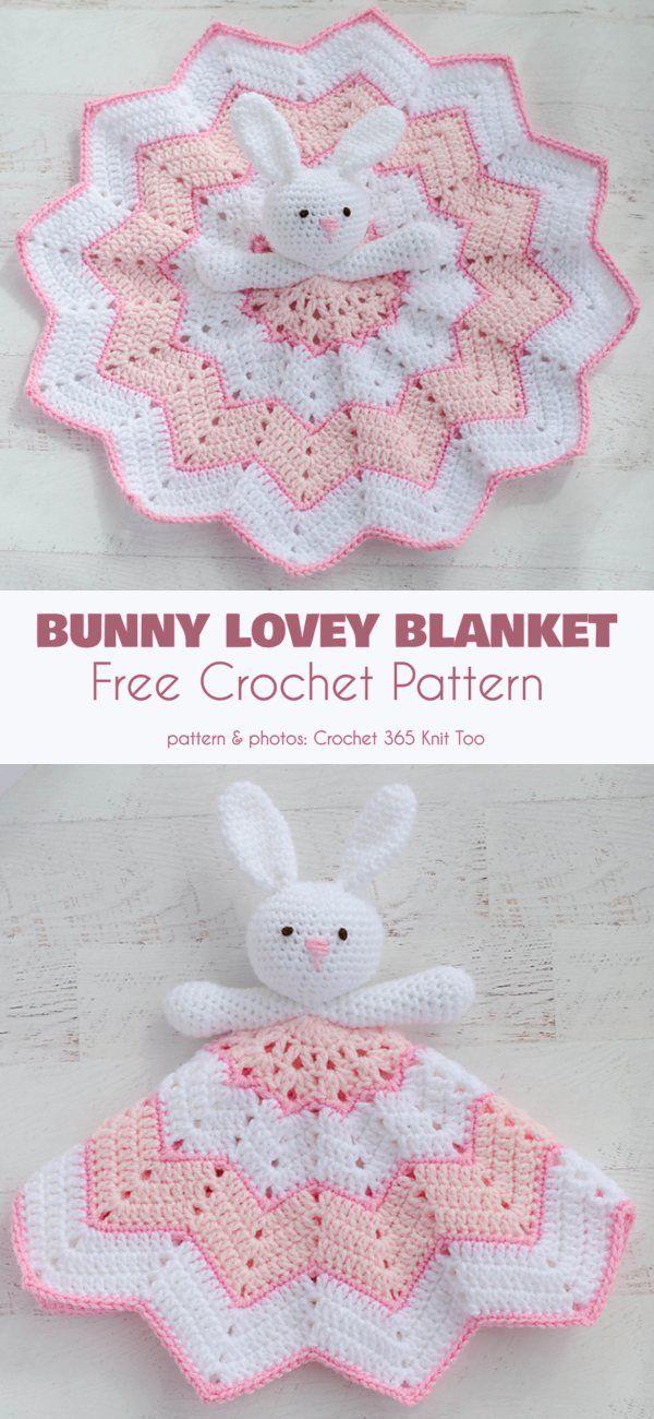Bunny Lovey Blanket Free Crochet Pattern #crochetsecurityblanket