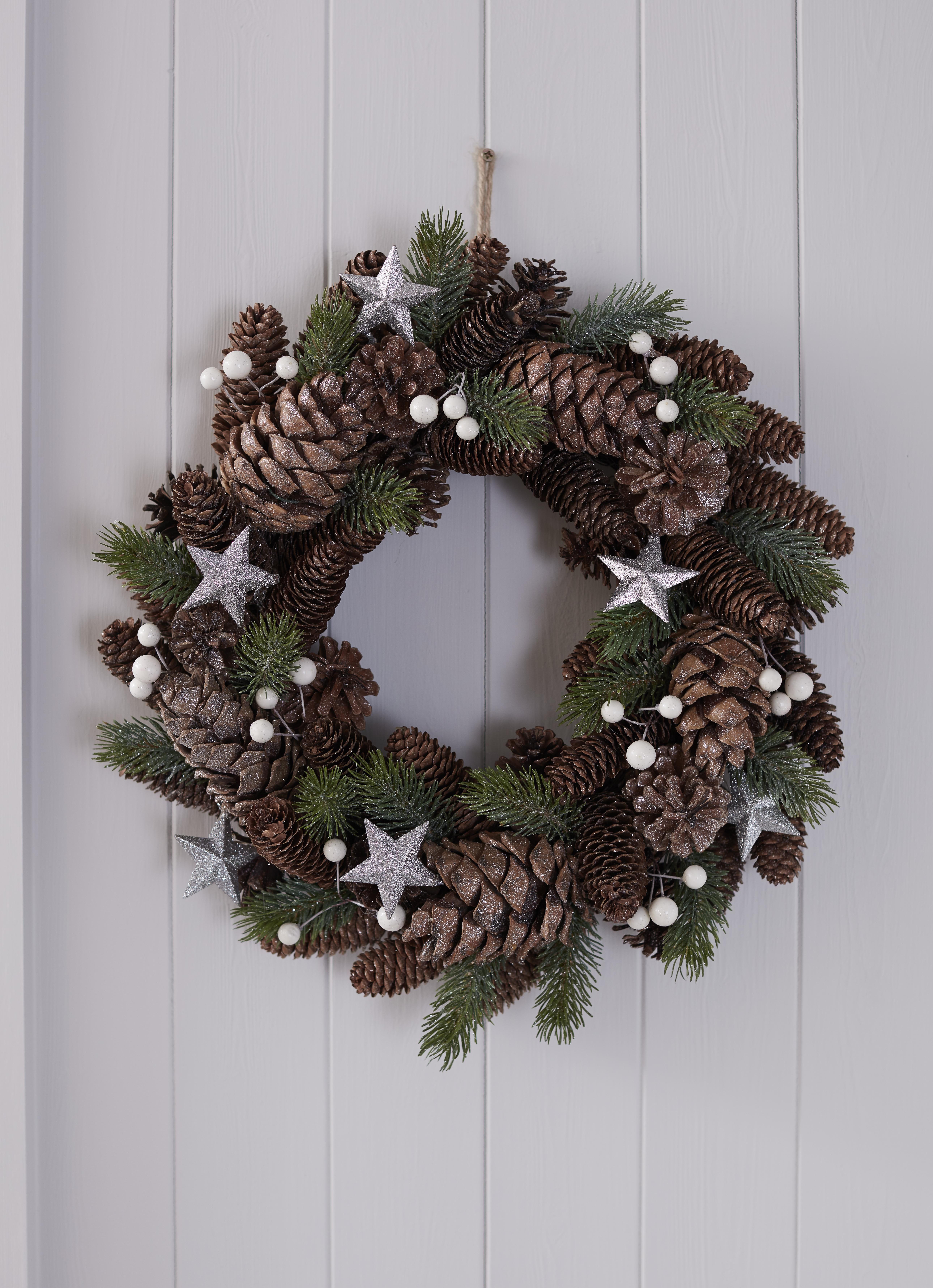 Our Pine Cone Wreath Adds A Real Traditional Christmas
