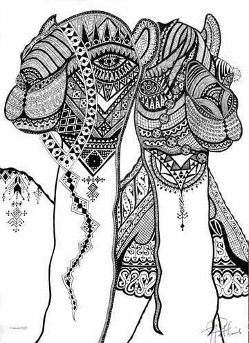 Henna designed Camels