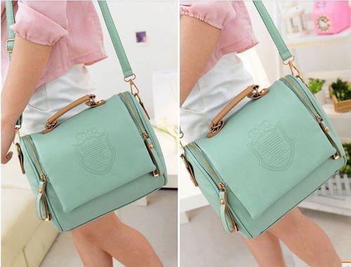 Retro Lady Korea Style Square Handbag Cross Shoulder Satchel Bag Tote Light Blue   eBay