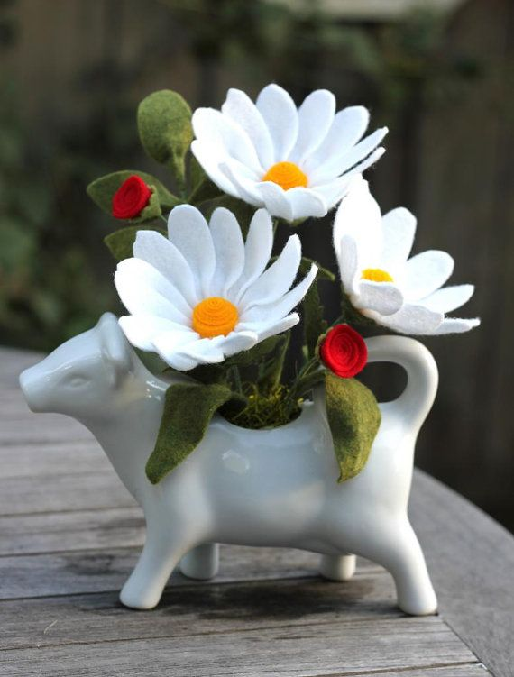 Felt Daisies in Daisy the cow. by TheFeltFlorist on Etsy