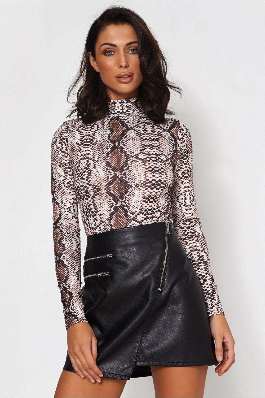 3f3794421e Long Sleeve Snakeskin Bodysuit - from The Fashion Bible UK